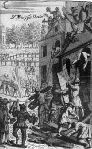 Sacheverell riots - Daniel Burgess's Presbyterian meeting-house in Lincoln's Inn Fields, London, is wrecked by the mob in the Sacheverell riots of 1710.