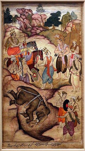 Ashwatthama - Bhima kills an elephant named Asvatthama, folio from Razmnama