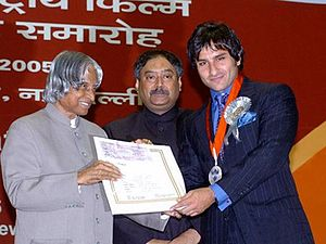 Saif Ali Khan - Pictured with Dr. A. P. J. Abdul Kalam (left) at the 52nd National Film Awards in 2005 where Khan won the Best Actor award for Hum Tum