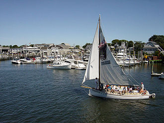 Hyannis, Massachusetts - A sailboat in Hyannis Harbor