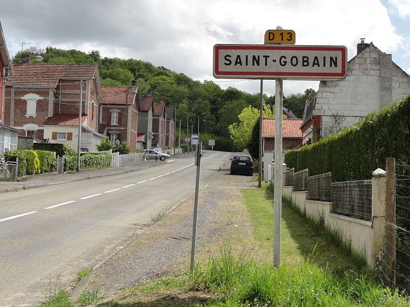 Saint-Gobain (Aisne) city limit sign