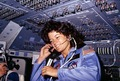 Sally Ride, America's first woman astronaut communitcates with ground controllers from the flight deck - NARA - 541940.tif