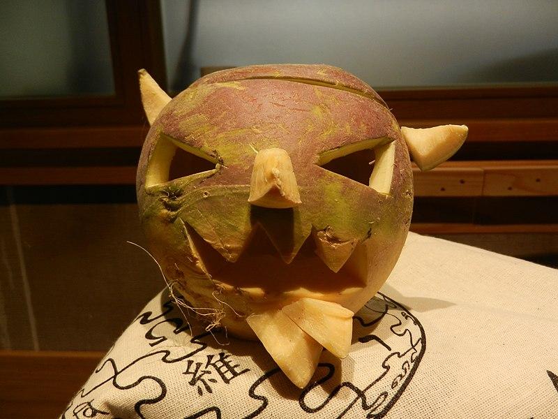 File:Samhuinn carved turnip at University of Edinburgh editathon - 31st October 2016 01.jpg