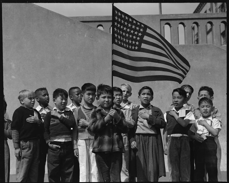 File:San Francisco, California. Flag of allegiance pledge at Raphael Weill Public School, Geary and Buch . . . - NARA - 537476.tif