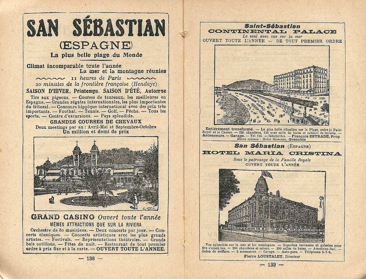 File San Sebastián Espagne Réclame De 1921 Jpg