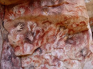 Cave painting - Cueva de las Manos located Perito Moreno, Argentina. The art in the cave dates between 13,000-9,000 BP