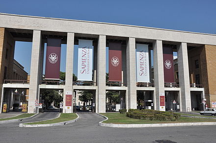The Sapienza University of Rome founded in 1303 Sapienza entrance (20040201351).jpg
