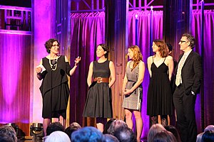 Serial (podcast) - Host and Executive Producer Sarah Koenig accepts the Peabody Award for Serial. She is joined on stage by Julie Snyder, Dana Chivvis, Emily Condon, Cecily Strong and Ira Glass.