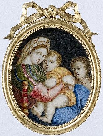 Petronella Dunois - Image: Schilderij met voorstelling van de Madonna della sedia naar Rafaël Rijksmuseum BK 14656 309