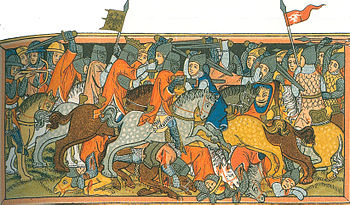 Contemporary depiction of the battle, commissioned by the Landgrave of Hesse in 1334