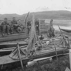 Aleutian kayak - Aleut men in Unalaska in 1896, with waterproof kayak gear and garments