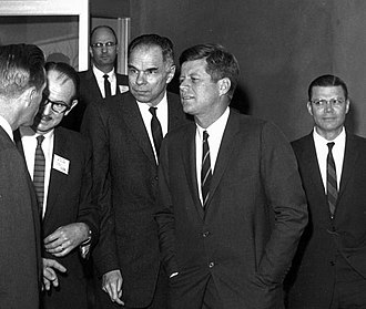 "Glenn T. Seaborg - From left to right: Chairman Seaborg, President Kennedy, Secretary McNamara on 23 March 1962. By this point, McNamara and Seaborg had been discussing the AEC's studies on the ecological effects of nuclear war and ""clean"" weapon alternatives. (Courtesy: National Security Archive, Original: National Archives)"
