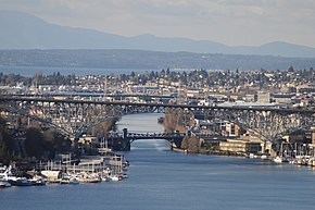 The Fremont Cut of the Lake Washington Ship Canal, seen from the grounds of the St. Mark's Episcopal Cathedral complex, across Lake Union.