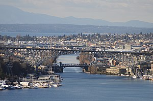 Fremont, Seattle - The Fremont Cut of the Lake Washington Ship Canal, seen from the grounds of the St. Mark's Episcopal Cathedral complex, across Lake Union.