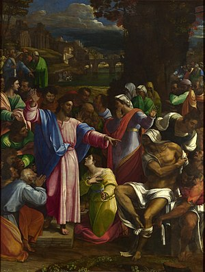 National Gallery - The Raising of Lazarus by Sebastiano del Piombo, from the collection of John Julius Angerstein. This became the founding collection of the National Gallery in 1824. The painting has the accession number NG1, making it officially the first painting to enter the Gallery.