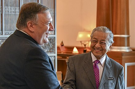 Mahathir meeting with US Secretary of State Mike Pompeo at the Prime Minister's Office in Putrajaya, 2018 Secretary Pompeo and Malaysian Prime Minister Mahathir Mohamad (42910851015).jpg