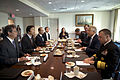 Secretary of Defense Chuck Hagel, second from right, meets with Republic of Korea Minister of Foreign Affairs Yun Byung-se, second from left, in the Pentagon on April 3, 2013 130403-D-BW835-061.jpg