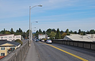 Sellwood Bridge - A street-level view of the old bridge. The replacement bridge has much wider sidewalks, on both sides, and dedicated bike lanes.
