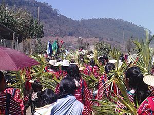 Holy Week in Mexico - Palm Sunday procession of Trique people in Santo Domingo, Oaxaca