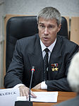 Sergei Krikalev speaks during meeting to approve launch of Expedition 21.jpg