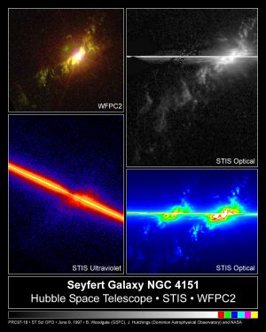 Seyfert galaxy - Optical and ultraviolet images of the black hole in the center of NGC 4151, a Seyfert Galaxy