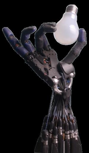 Shadow Dexterous Robot Hand holding a lightbulb