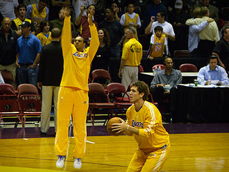 Shannon Brown - Brown (left) practices shooting with former Lakers teammate Luke Walton.