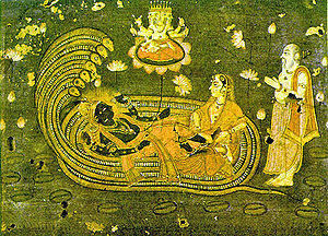 Creation myth - Brahmā, the Hindu deva of creation, emerges from a lotus risen from the navel of Viṣņu, who lies with Lakshmi on the serpent Ananta Shesha.