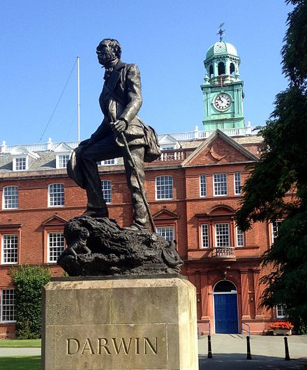 To mark the turn of the Millennium, Shrewsbury unveiled a monument of Charles Darwin. Shrewsbury School 4.JPG