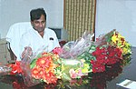 Shri Shaqeel Ahmed in his office after taking over the charge as the Minister of State for Communications & Information Technology in New Delhi on May 24, 2004.jpg