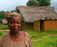 A Mende woman in the village of Njama in Kailahun District in the Eastern Province of Sierra Leone.