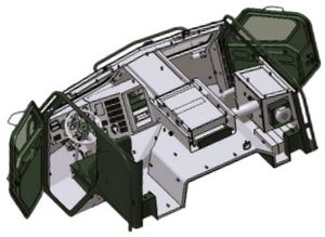Sisu E13TP - Armoured cabin used on E13TP and E15TP.