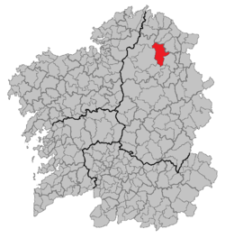 Situation of Abadín within Galicia