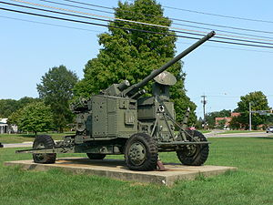 M51 Skysweeper - Skysweeper on 4 wheeled carriage at the United States Army Ordnance Museum.