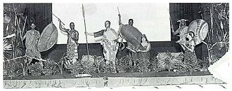 Sol Plaatje - A scene from the stage show of Cradle of the World, 1923. Sol Plaatje is centre stage.