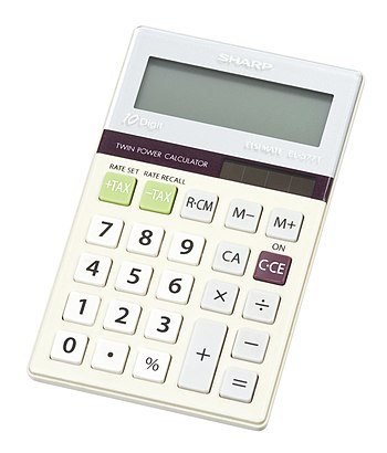 English: A basic, Sharp-brand solar calculator.