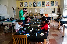 Solder workshop at Oakland Student Makers, Bret Harte Middle School, Oakland (2015-02-26 16.11.52 by Mitch Altman).jpg