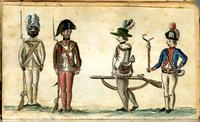 """Una escena de cuatro soldados uniformados del 1er Regimiento Continental de Rhode Island.  A la izquierda, un soldado blanco y negro formalmente en """"Atención"""" con mosquetes Brown Bess;  a la derecha, un soldado blanco abatido volviendo a la formación con un oficial que le ladra sosteniendo un gato-o-nueve colas para azotar."""