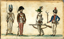 "A scene of four uniformed soldiers of the Continental 1st Rhode Island Regiment. On the left, a black and a white soldier formally at ""Attention"" with Brown Bess muskets; on the right, a downcast white soldier walking back into formation with an officer barking at him holding a cat-o-nine tails for flogging."