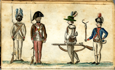 1780 drawing of American soldiers from the Yorktown campaign shows a black infantryman from the 1st Rhode Island Regiment. Soldiers at the siege of Yorktown (1781), by Jean-Baptiste-Antoine DeVerger.png