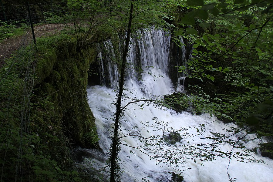 Waterfall on the Source Bergeret near Vaire-Arcier, France