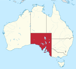 Map of Australia with  South Australia highlighted