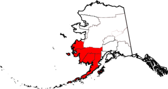 Southwest Alaska - Map highlighting some Census and Governmental units of Southwest Alaska