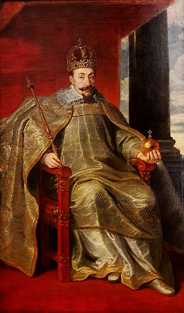 Sigismund III of Poland holding a sceptre and globus cruciger as symbols of monarchical power Soutman Sigismund III Vasa in coronation robes.jpg