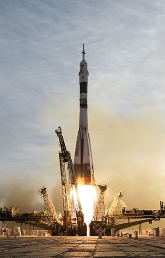 Launch vehicle - Russian Soyuz TMA-5 lifts off from the Baikonur Cosmodrome in Kazakhstan heading for the ISS