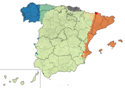 The languages of Spain (simplified) Spanish, official, spoken in all the territory Catalan and Valencian, co-official, except in La Franja and Carxe Basque, co-official, in Basque Country and Navarre Galician, co-official, except in Asturies and Castile and Leon Asturian, unofficial, but adopted as co-official in some municipalities of Asturies Aragonese, unofficial Aranese, co-official (dialect of Occitan)