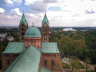Speyer - View of the river Rhine from the top of the Speyer Cathedral