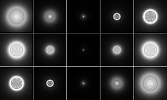 Point spread function - A point source as imaged by a system with negative (top), zero (center), and positive (bottom) spherical aberration. Images to the left are defocused toward the inside, images on the right toward the outside.