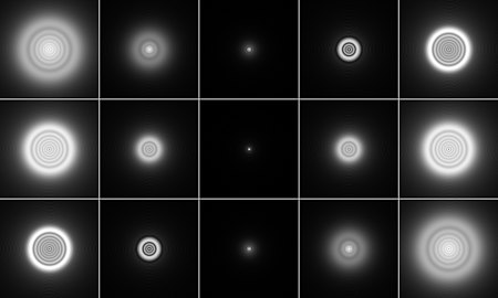 A point source as imaged by a system with negative (top row), zero (middle row), and positive spherical aberration (bottom row). The middle column shows the focused image, columns to the left shows defocusing toward the inside, and columns to the right show defocusing toward the outside. Spherical-aberration-disk.jpg