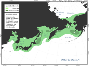 Spotted seal - Image: Spotted seal distribution in Bering Sea and surrounding areas